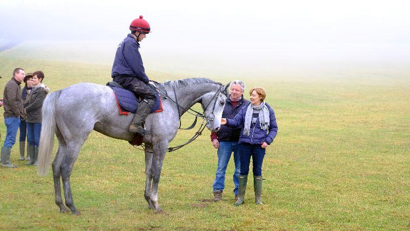 Silver Kayf and his owners Ian and Pam Farnsworth