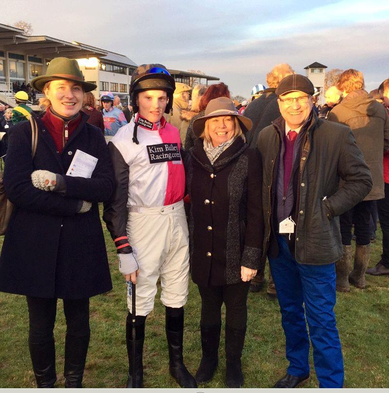 Lucinda Prince, Linda and Brian Cognet with Mikey Hamill before Bandon Roc's race at Taunton yesterday