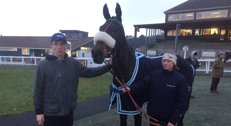 Alex Fanshawe with First Flow after he finished 4th in the bumper at Exeter yesterday