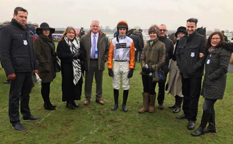 Share my Dream Partnership members with their horse Glenforde and jockey David Bass before his race at Warwick on Saturday