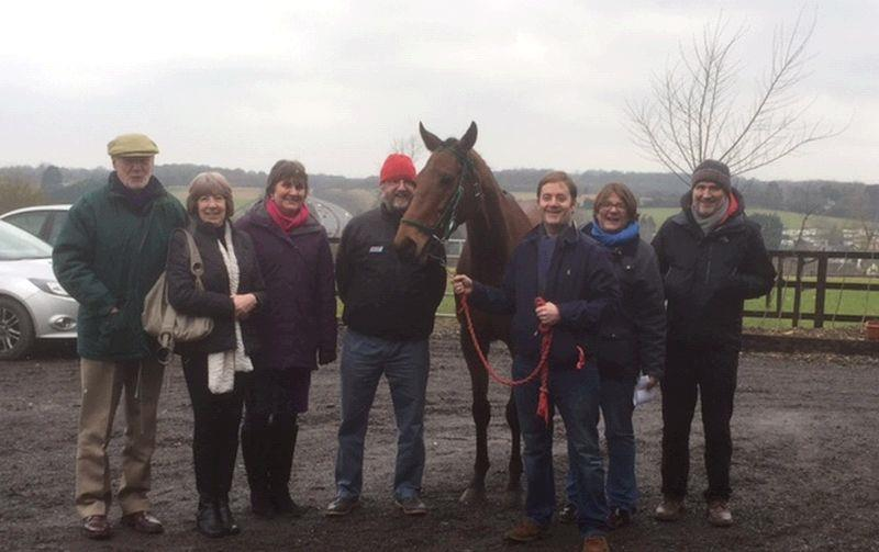 The members of Two Timers Partneship with their horse King Simba,.. Colin and Ann Wigmore, Helen and Alan McLellan, Henry Kimbell, Suzanne and Tim Proctor