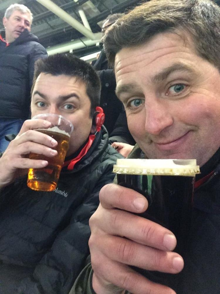 Mat Nicholls enjoying his day at the Rugby..