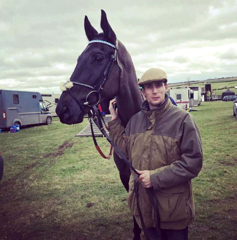 Ed Cookson with Silver Rogue.. Ed Cookson is pupil assistant trainer to Mary Vestey .
