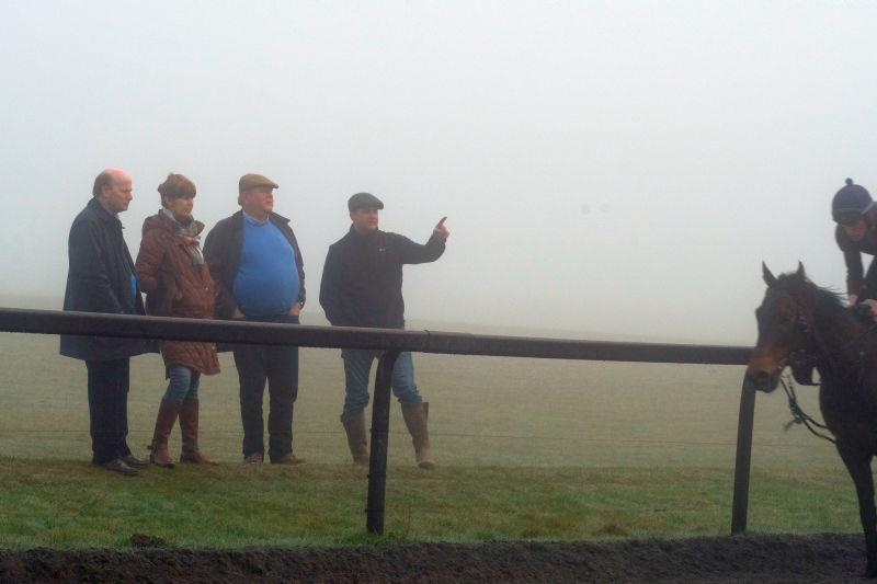 David, Liz, Keith anmd Mat watching first lot in the fog