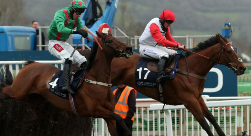 Pacha Du Polder jumps the last in front in last weeks Foxhunters Chase