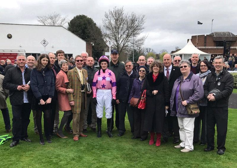 Gary Tardi on the left with the rest of the owners of Nicely Indeed in the paddock before his race at Kempton