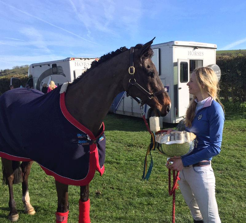 Pandora Bailey with Offshore Account and the Isle Of Wight Grand National Trophy.. Looks a big one? Well done Panda