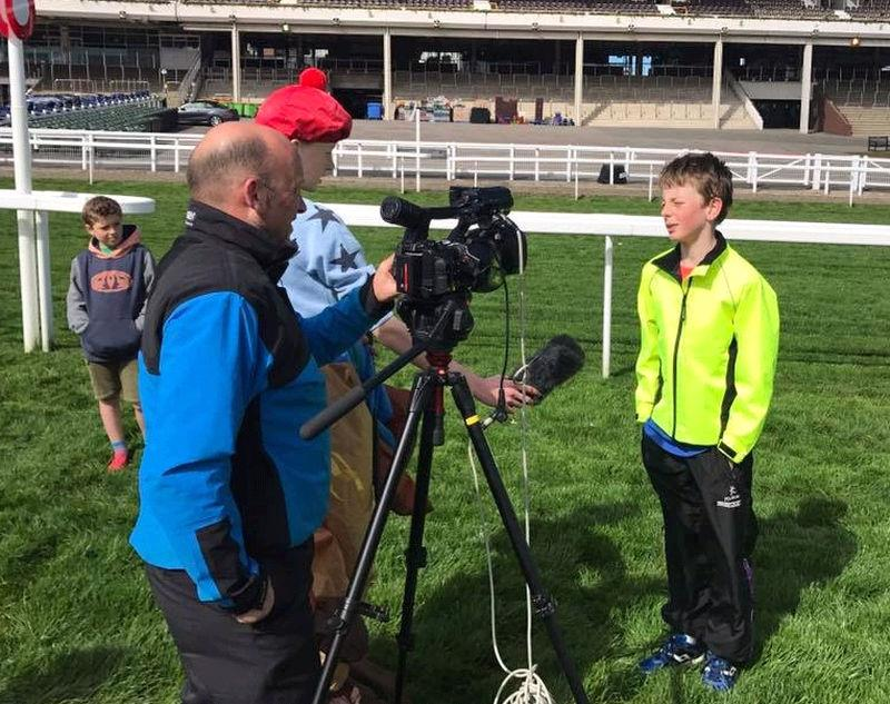 James Clarkson being interviewed at Cheltenham yesterday
