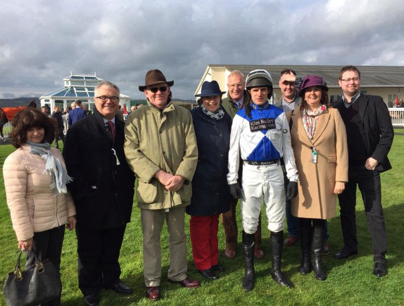 Some of Knockanrawley's owners in the paddock yesterday at Ffos Las
