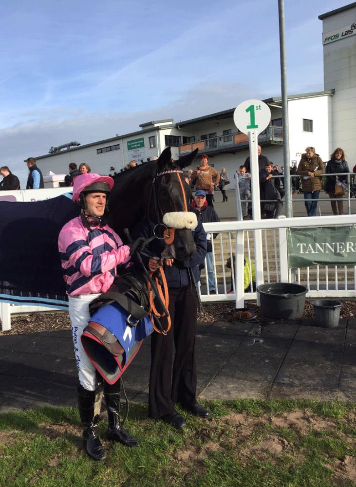 David Bass and My Cousin Rachel in the winners enclosure..