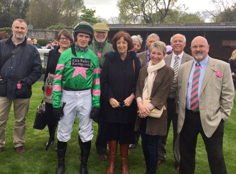 Ascotdeux Nellerie's owners in the paddock at Newton Abbot on Saturday.