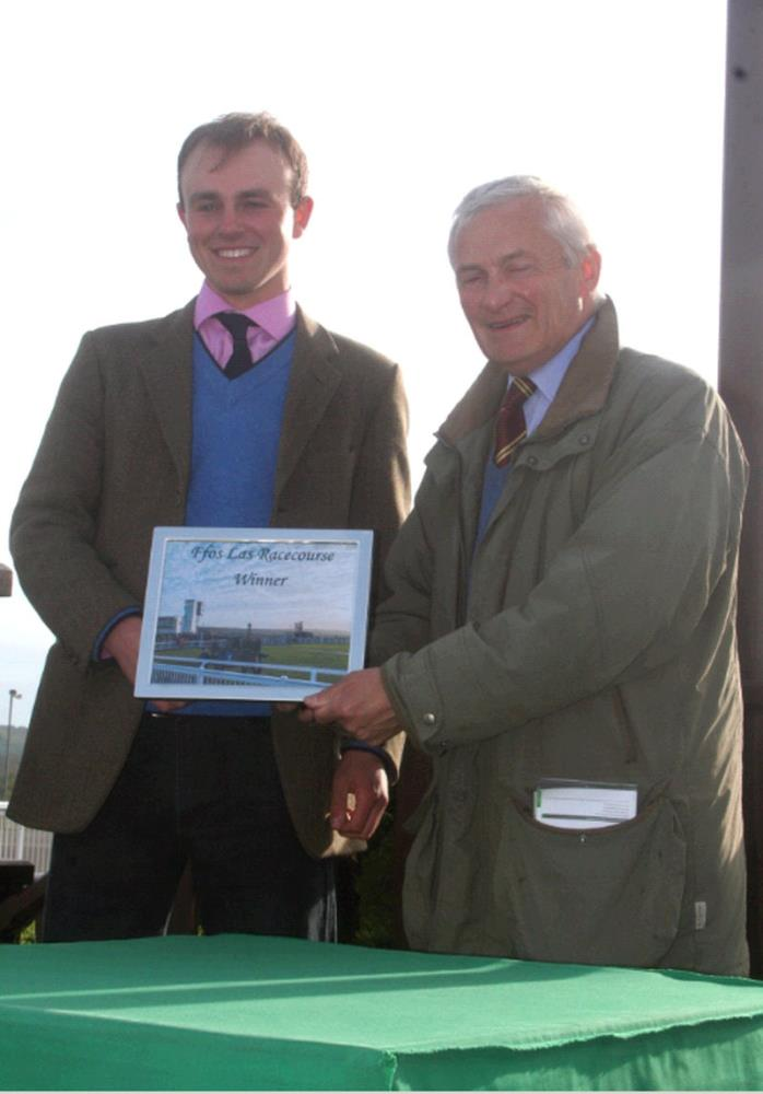 Jack Jones receiving My Cousin Rachel's winning prize from Mark Kershaw.