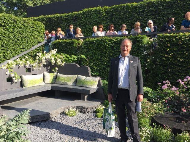 Andrew Bengough in the Maggies Garden at Chelsea Flower Show