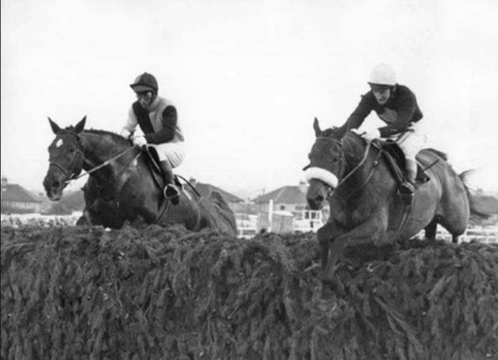 Rag Trade about to overtake Red Rum to win the 1976 Grand National