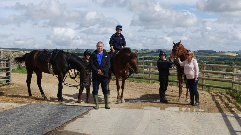Andy and Sandy Page with their horses Blazon, Biscuit and Another Venture