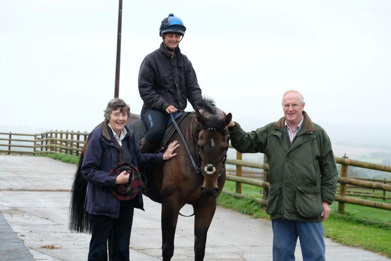 Melinda and Mark Laws with their horse Ben Arthur