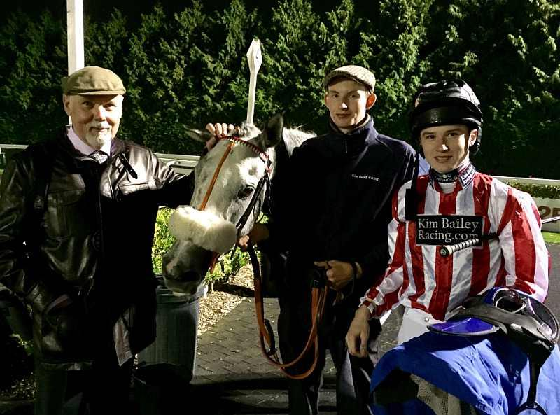 Norman Carter with his horse Sunblazer at Kempton last night. Zac and jockey Joshua Bryon