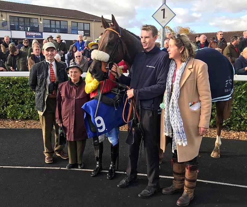 John and Laura Garrett and Sally Grant with their horse Red River after winning his race at Wincanton yesterday
