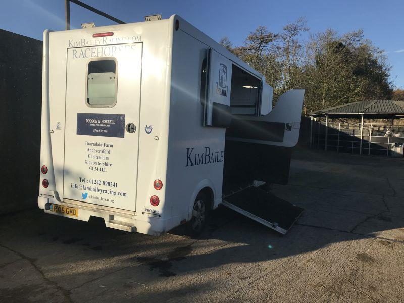 Newly signwritten horsebox being loaded up for a trip to Plumpton
