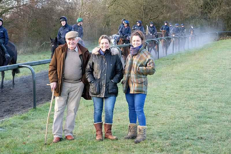 Colin, Jude and Laura..A charity morning on the gallops