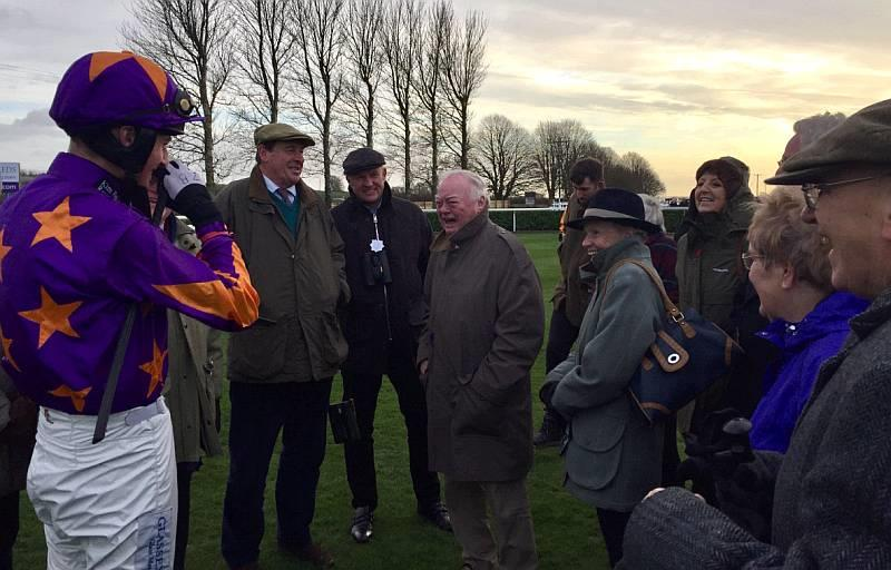 Somebody made them all laugh on a very cold day at Wincanton