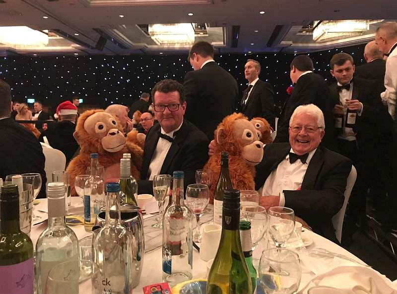 The Gentlemans dinner last night. Aiden Murphy and Jim Lewis who owned Best Mate with their cuddly toys!
