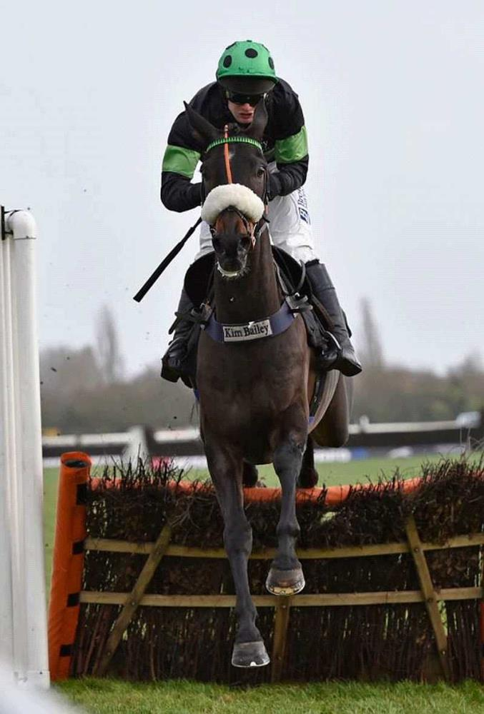 First Flow jumping the last well clear at Newbury on Saturday