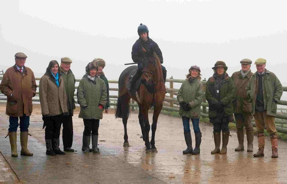The Team from Somerset Racing with their horse Gallery Exhibition and rider Guy Disney