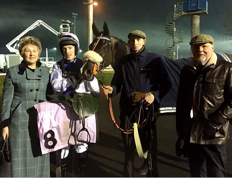 Owners Marion Hudson and Norman Carter with Milord and jockey Ed Bailey and Zack Davidson
