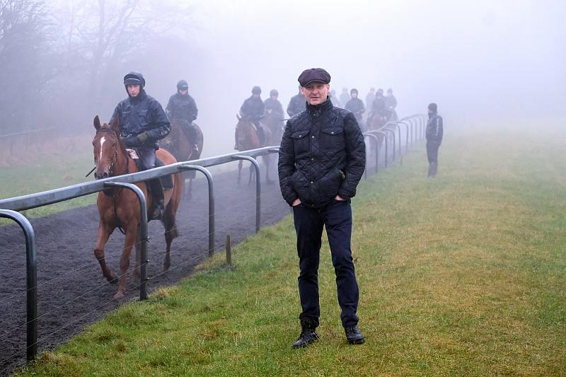 Paul on the gallops.. not great weather!