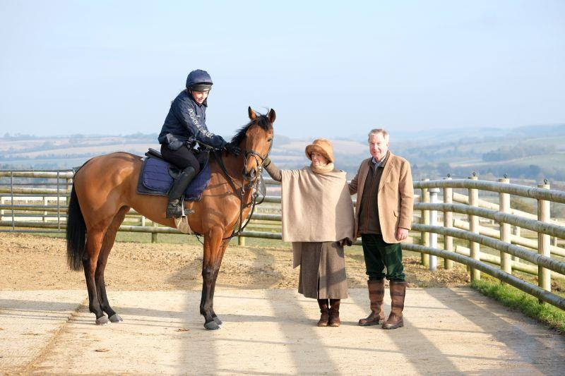 Rose To Fame with her owners Cherry and Nicholas Jones