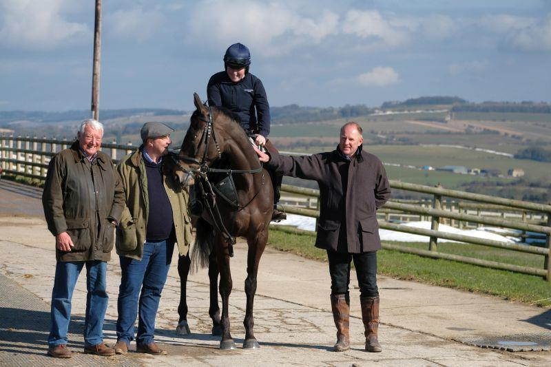 David, Darren and John with their horse Vinndication.. He will not be running at Cheltenham..