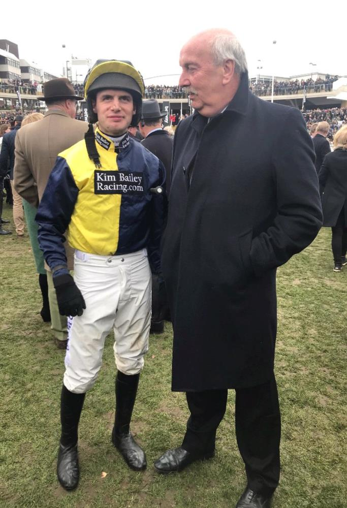 Two Davids.. David Bass and Charbel's onwner David Martin the paddock before the Champion Chase