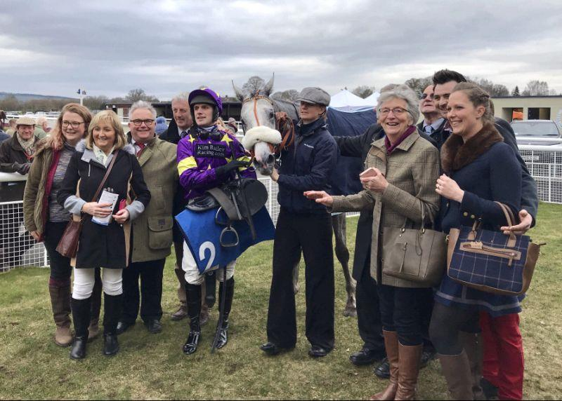 A very happy team of owners with their horse Silver Kayf