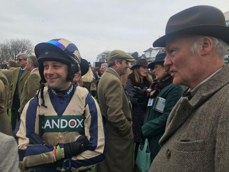 Guy talking to Richard Wilkin and the owners of Gallery Exhibition before the race
