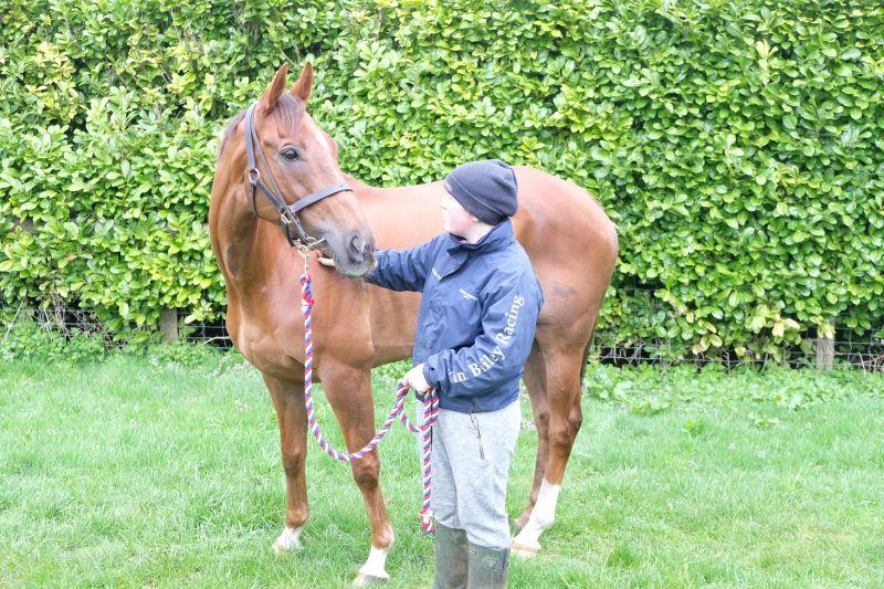 Sinead with her favourite horse The Last Samuri this morning