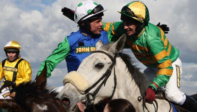 John Grossick's famous picture of Timmy Murphy celebrating his Grand National win