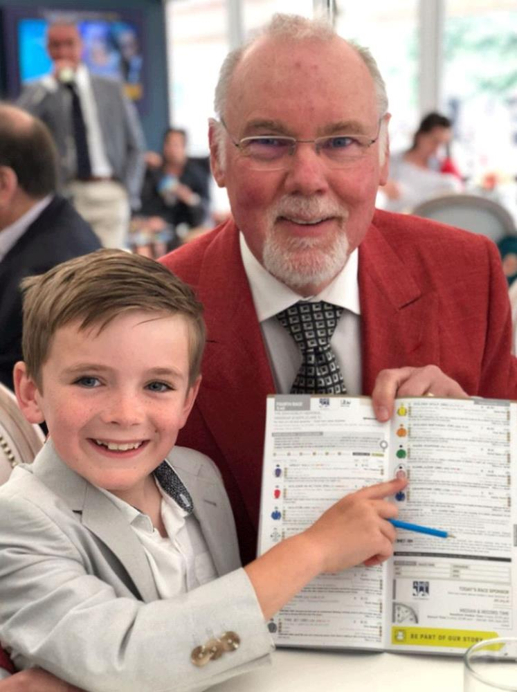 Norman Carter with his grandson at Newmarket on Saturday