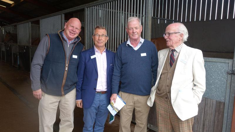 The Cheltenmham racecourse connection. Vet Graham Potts, Claerk of the course Simon Claisse and the old doctor John Disney and Philip Arkright who used to the Clerk of the course