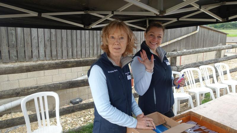 Sandie and Maddie were in charge of handing out the horses in training brochures.