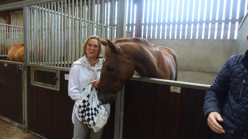 Sandra Steer-Fowler with the Midnight Legend 3 year old she bred