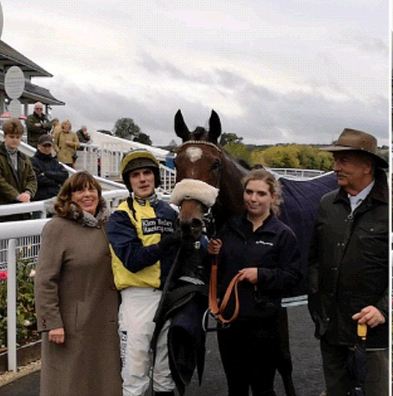Very happy owners Julie and David Martin with theior nhorse Charbel..Kate looks after him