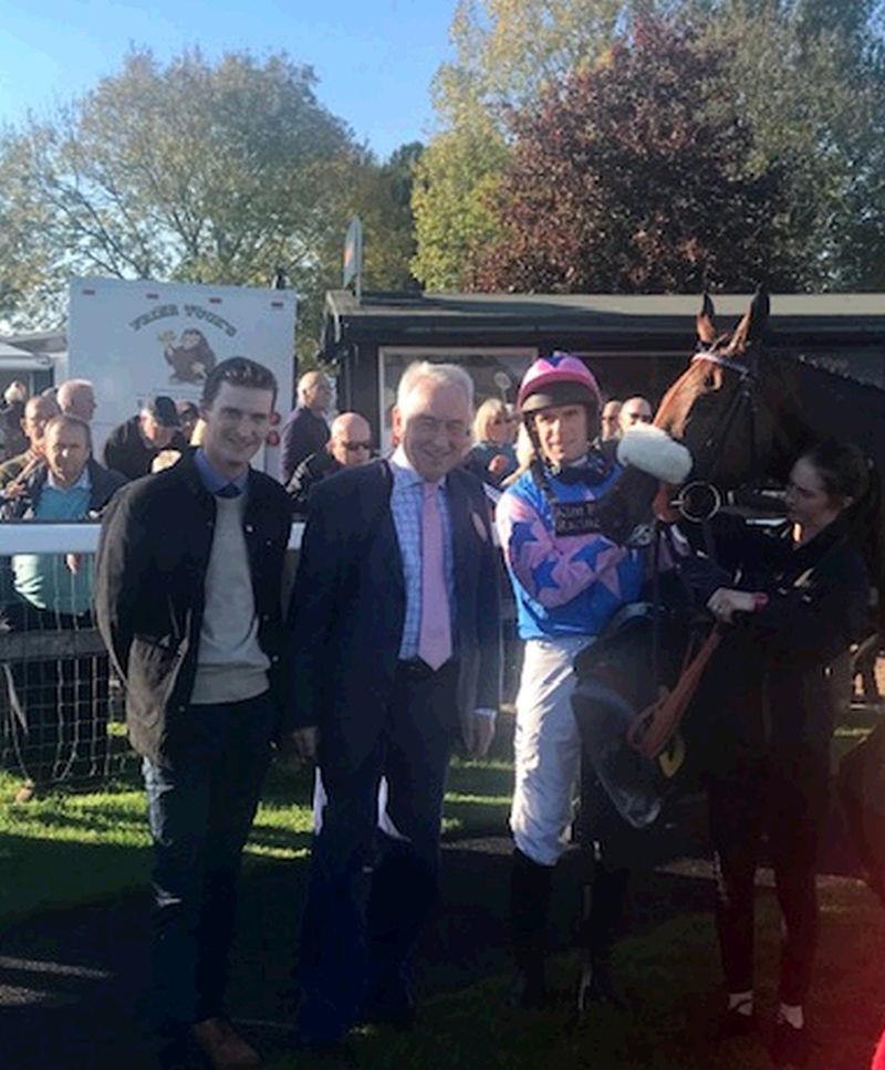 Harry Moss my pupil assistant on his first days racing as my representative with winning owner John Perriss, David Bass and Rockys Treasure
