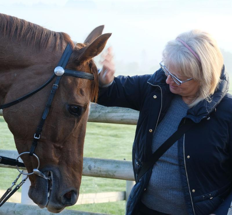 Karen with Another Venture the Racing For Maggies horse