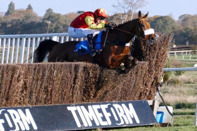 Dandy Dan jumping the last in front at Kelso on Saturday.. Photo taken by Alfie Potter