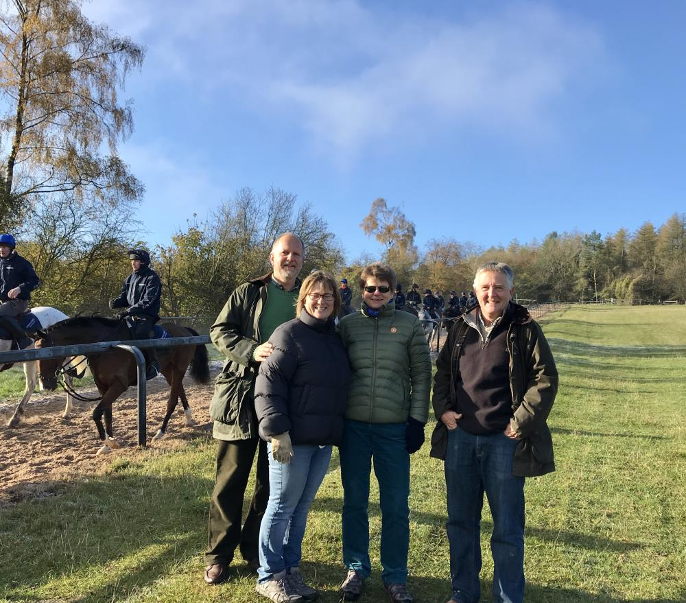 Barbara and Peter Denning with friends enjoying their morning on the gallops