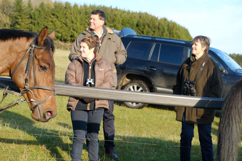 Chris Mallard, Di Cope and  Sue Sharrott on the gallops