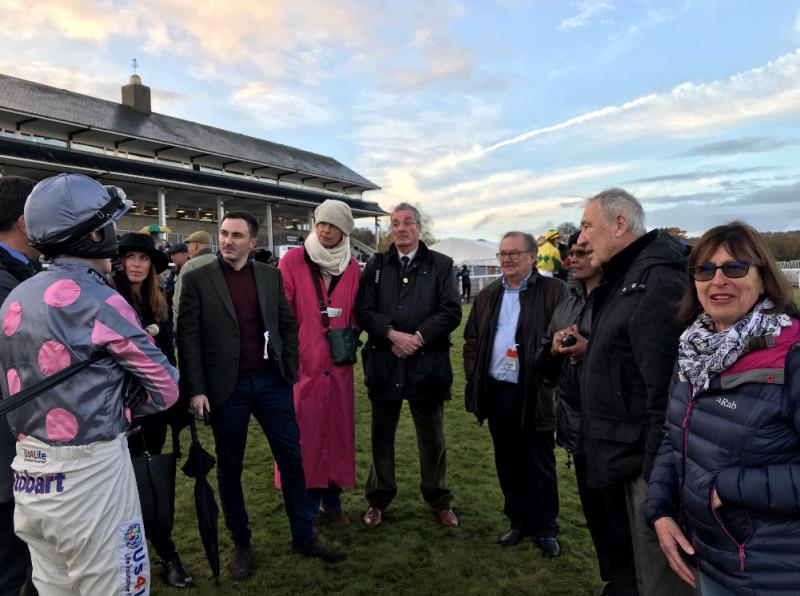 Mikey Hamill telling Balleticon's owners how he is going to ride their horse in the bumper at Chepstow yesterday.