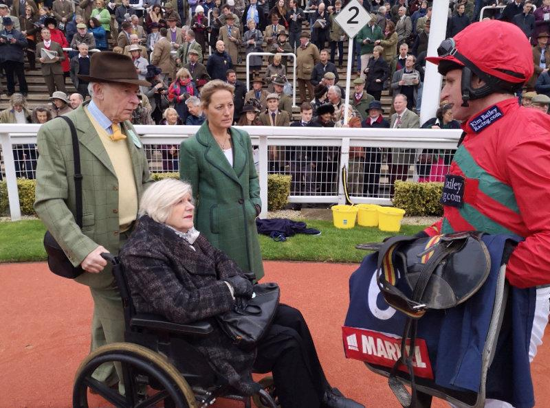 Jamie Codd talking to owner Penny and John Perriss and Mrs B