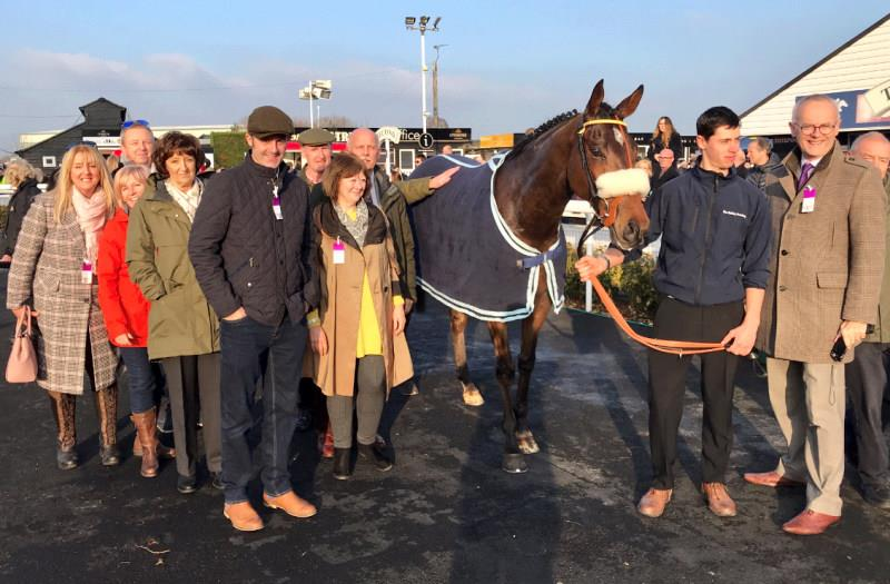 A happy team with Peeping Tom who was third at Uttoxeter on Saturday